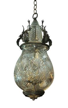 Cut glass pendant light with bronze detail Shine The Light, I Saw The Light, Antique Chandelier, Antique Lamps, Home Lighting, Chandelier Lighting, Chandeliers, Glass Pendant Light, Glass Pendants