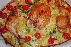 Gebackene Hähnchenkeulen auf Kartoffeln 8