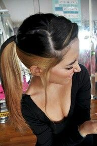 Had my hair done like this n i liked it but went straight to black.  Red burgundy on bottom now all midnight blue