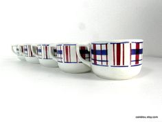 St Amand 5 cups blue red and white 30s by frenchvintagedream