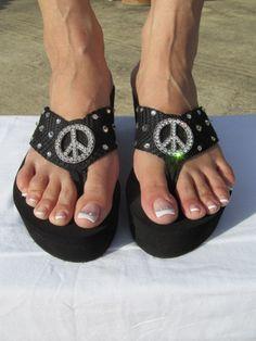Miss Traveled - Peace  - Black Wedge Flip Flop Size 6 thru 10