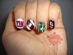 NY Giants Manicure..doing this for football season.. i think yes!!!