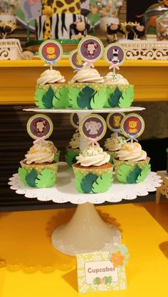 Loving the leaf cupcake wrappers used on these delicious cupcakes at this Jungle Birthday Party! See more party ideas and share yours at CatchMyParty.com