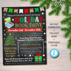 EDITABLE Holiday Book Drive Flyer, Printable PTA PTO Flyer School Church Xmas Fundraiser Poster Christmas Invite, Pto Pta Charity Invitation