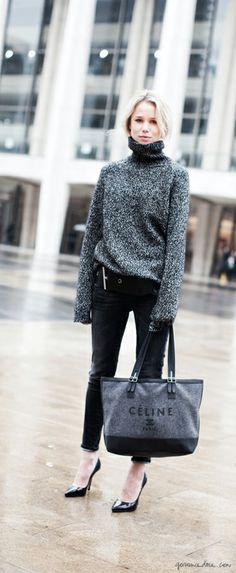 grey turtleneck, black cropped pants, black pumps, Celine bag / Garance Doré