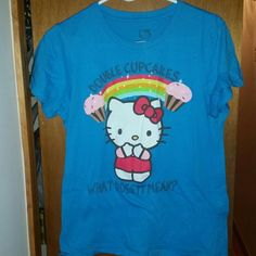 Hello kitty tee Size Xl Great bright blue Double cupcakes, what does it mean? Hello Kitty Tops