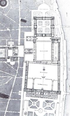 Percier & Fontaine - Projection meeting of the Louvre and Tuileries - - Edwardian Architecture, Garden Architecture, Classical Architecture, Historical Architecture, Concept Architecture, Architecture Design, Illustration Paris, Illustrations, Design Despace