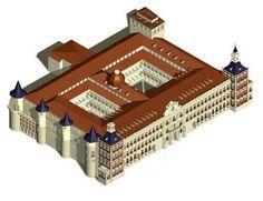 El Palacio Real se empezó a construir en 1738 y está ubicado sobre el solar que ocupaba el antiguo Alcázar madrileño, destruido en un incendio que duro desde la nochebuena de 1734 hasta primeros de enero del año siguiente (junto con el Alcázar ardieron más de 500 cuadros, uno de los pocos que pudo salvarse fueron Las Meninas, de Velázquez). Infografia del Alcázar Madrileño en 1734