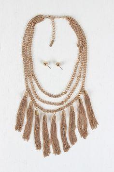 Three Chains Tassel Necklace