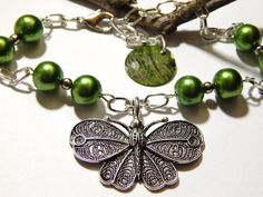 Irish Green Butterfly Ankle Bracelet by MURPHYSTREASURES on Etsy, $18.00