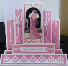 Step card in pink with die cuts and image from Debbie Moore.