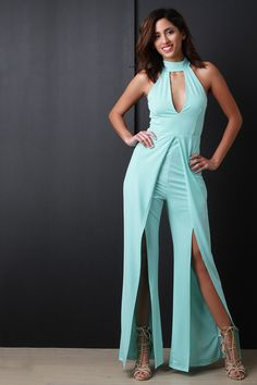 FREE SH & Easy Returns! Shop this jumpsuit features wide cut legs with vent slit constructed front, high waisted cinched seam, large keyhole cutout yoke to a wide choker neckline