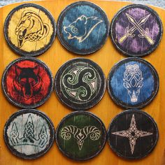 Skyrim Inspired Hold Shield Coasters Full Set by infamouscrafts, £15.00