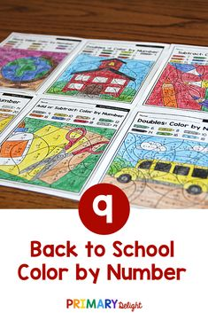 Back to School color by number 2nd grade math worksheets are a fun way for kids to practice addition, subtraction, place value and telling time. Use these printable pages for morning work for students or for early finishers in the classroom or homeschool setting. #BackToSchool  #Addition #Subtraction  #PrimaryDelight 2nd Grade Math Worksheets, First Grade Activities, Math Place Value, Place Values, First Grade Reading, First Grade Math, Teaching Subtraction, Math Pages, School Coloring Pages