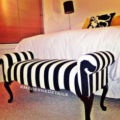 Black and white stripe bench- eBay. Comforter - Target. Throw Pillows - Target…