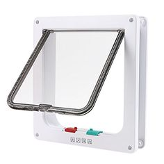 wowowoTM Small Cat Flap with 4 Way Locking Lockable Pet Door Plastic White L -- Want additional info? Click on the image.
