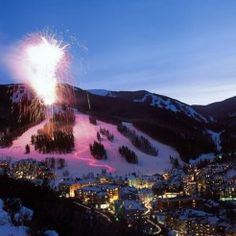 New Year's Eve fireworks and torchlight parade at Beaver Creek resort.