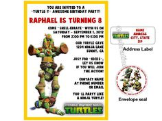 Teenage Mutant Ninja Turtles Birthday Invites by LuvCelebrationPatrol