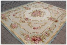 Aubusson Area Rug BLUE w CHIC PINK ROSES French Flat Weave Floor Carpet $1,399.00
