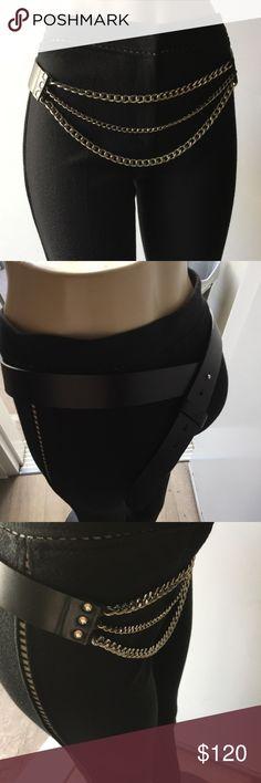 Versace leather chain belt SZ m/l black silver Black leather silver chain belt worn 2x Versace Accessories Belts