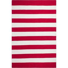 Fab Habitat Nantucket Striped Hand-Woven Red/White Indoor/Outdoor Area Rug Rug Size: x Nantucket Red, Dash And Albert, Comfortable Pillows, Indoor Outdoor Area Rugs, Outdoor Living, Elements Of Style, Mold And Mildew, White Area Rug, Throw Rugs