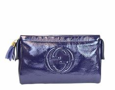 """Get the trendiest Clutch of the season! The Gucci """"soho"""" Patent Leather Cosmetic Case Navy Clutch is a top 10 member favorite on Tradesy. Save on yours before they are sold out! Gucci Clutch, Leather Clutch, Leather Purses, Clutch Bag, Patent Leather, Navy Blue Clutch, Gucci Handbags, Tassel Purse"""