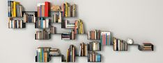 Shelves for books and other items for the home, nowadays, are available in many variations in terms of the shape and the color, and often, they are unique Modular Bookshelves, Wall Mounted Bookshelves, Creative Bookshelves, Bookcase Wall, Modern Bookcase, Bookshelf Design, Wall Shelves Design, White Cube Shelves, Wall Rack Design