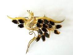 Bird Of Paradise Brooch Sterling Gold Wash Rhinestone 1940s Vintage Collectable Jewelry Bird Brooch Autumn Brown Topaz by JewelryQuestDesign, $47.99