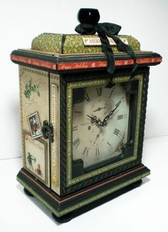 Amazing altered clock for December from @Diane Schultz workshop! Amazing detail and beautiful clock! #graphic45
