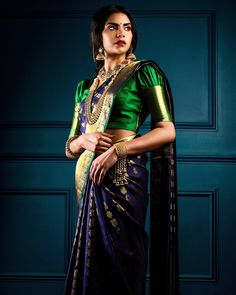 Looking for puff sleeve blouse designs for sarees? Here are our picks of 21 amazing blouse designs you can wear with any saree. Silk Saree Blouse Designs, Saree Blouse Patterns, Bridal Blouse Designs, Indian Blouse Designs, Kanjivaram Sarees, Silk Sarees, Saris, Indian Sarees, Blue Silk Saree