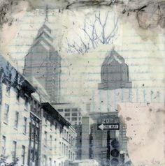 Original Encaustic Collage - Winter Philadelphia. $45.00, via Etsy.