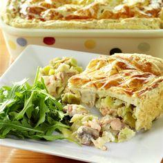Salmon, mushroom and leek pie recipe   BakingMad.com