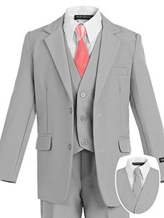 Bello Giovane Boys Silver Formal Dress Slim Suit set with Satin Neck Tie
