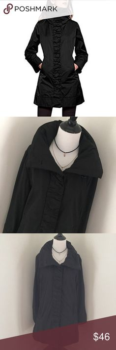 Rainforest Packable Rouched Rain Coat Beautiful and functional! Rain coat that's wrinkle resistant and travels easy. Hidden hood unzips for rainy weather. Small mark on right shoulder as seen in last pic. Size XL, in great condition! RAINFOREST Jackets & Coats