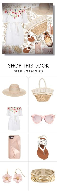 """Straw bag"" by sarahguo ❤ liked on Polyvore featuring BCBGeneration, Sun N' Sand, Pampelone, Karen Walker, Rebecca Minkoff, LC Lauren Conrad and Rosantica"