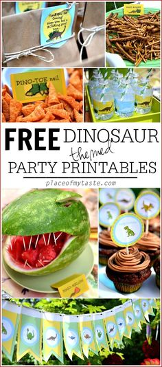 Vorlagen zum Ausdrucken für die näche Dino-Party >> Get your FREE Dinosaur themed party printables for your next DINOSAUR PARTY!!!