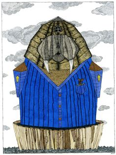 """I Am Older Than The Waves And Wiser Than The Whales"" by Duane Hosein www.duanehosein.com #art #drawing #illustration #duanehosein #ink #nature #nautical #walrus #captain #sea #ocean     #waves #cardigan #blue #wooden #windows #clouds #tusks"