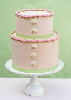 Pink and Lime Green Cakes | green wedding cake was created by erica obrien cake design