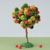 An adorable apple tree made with pom poms!