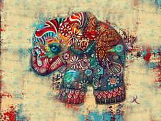 Colorful elephant decorated with  traditional motif design.