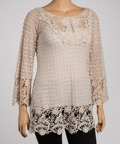 Sweet and sassy, this tantalizing tunic shows off carefree charm. A loose silhouette makes for an effortlessly fashionable look while crocheted details keeps the look romantic and feminine.Measurements (size XL): 33'' long from high point of shoulder to hem55% cotton / 45% polyesterHand wash; hang dry