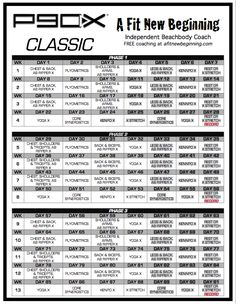P90x Workout Routine Schedule | P90X Classic Schedule | A Fit New Beginning