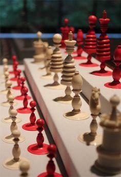 Old English Ivory Chess Set, c 1800-1825  England Ivory King: 4 in.