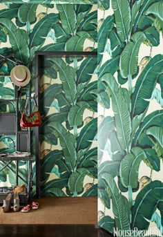 The Beverly Hills hotel's signature palm print wallpaper.