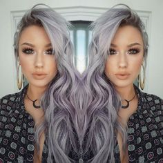 21 Pinterest Looks That Will Convince You to Dye Your Hair Grey | Witchy Lavender-Grey Waves