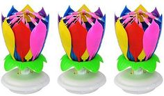 A Set of 3 Music Birthday Candle Firework Musical Lotus Rotating Happy Birthday