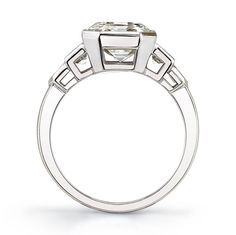 Classic and Sleek Asscher Cut Diamond Platinum Engagement Ring | From a unique collection of vintage engagement rings at https://www.1stdibs.com/jewelry/rings/engagement-rings/