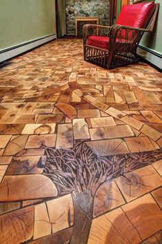 End grain wood flooring is all the rage. Takes a lot of work and planning but for the right area, it becomes a masterpiece! Woodworking Plans, Woodworking Projects, Floor Design, House Design, Carpet Design, Design Design, End Grain Flooring, Wooden Flooring, Flooring Ideas