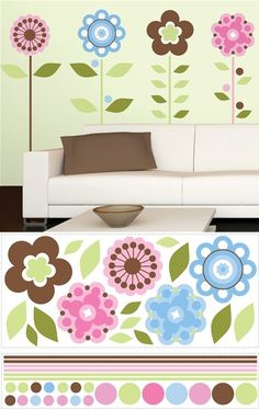 Growing Flowers Wall Mural Stickers - Wall Sticker Outlet