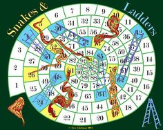 Snakes and Ladders (2012). Digital collage created & copyright © by Eric Edelman. All rights reserved. Snakes and Ladders is based on an ancient Hindu game. It is meant to teach that life is rooted in karma, or destiny...